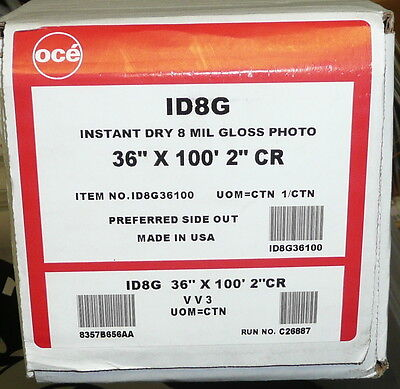"""Oce Instant Dry 8 Mil Gloss Photo Paper 36""""x100' 2"""" Core ID8G"""