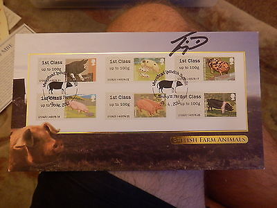 2012 Buckingham BC445BS Pigs Post & Go First Day Cover signed Jimmy Doherty