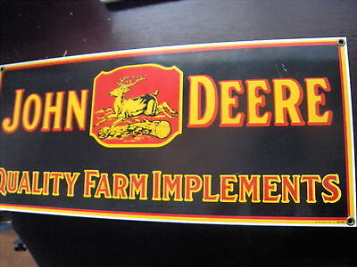 John Deere Quality Farm Implements Porcelain Sign With Running Deer 18x8 inches