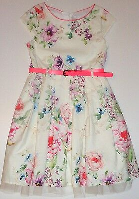 BNWOT Next Girls Ivory Pink Floral Print Occasion Party Dress Net Trim 6-7 years