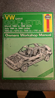 VW Golf & Jetta 84 - 88 Mk2 Haynes Workshop Manual Petrol 1.1 1.3 1.6 & 1.8L