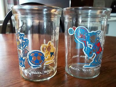 Set of 2 Welch's 1991 Tom and Jerry Glass Jelly Jars Sports