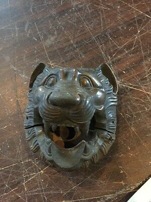 Very Decorative Antique Cast Bronze Lion Face