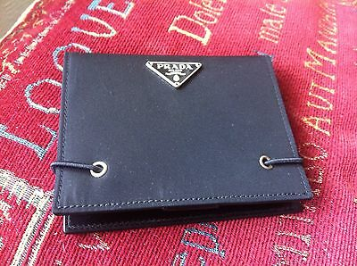 PRADA New and Boxed Black Leather and Nylon Post it Wallet with Prada Pencil