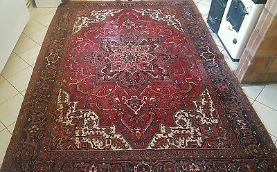 Heriz Persian hand knotted carpet wool rug 242 x 340 cm size Very Good Condition