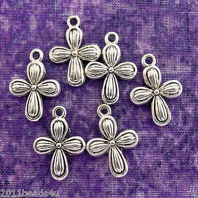 Antique Silver Alloy Metal Cross Charms 16 Pieces 12.7mm x 17.7mm  #0040