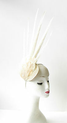 Ivory Cream  Pheasant Feather Statement Fascinator Races Vintage Races Hat 1465