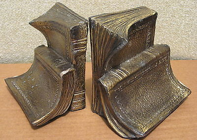 Vintage BRASS-PLATED WHITE METAL BOOKS BOOKENDS Gold Color