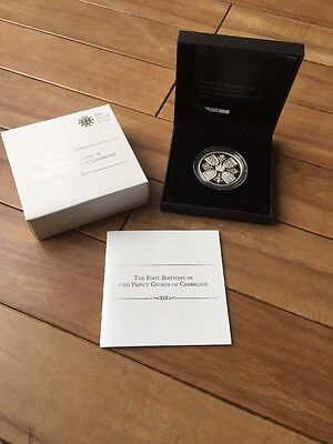 Royal Mint 2014 Silver Proof £5 Five Pound Coin Prince George Birthday Box & COA