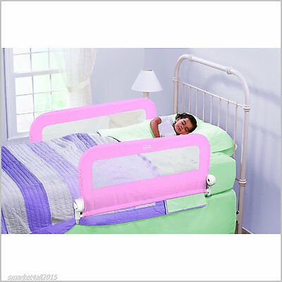 Child Protection Double Bedrail Pink Baby Safety Guard Bedside Rail Folding Down