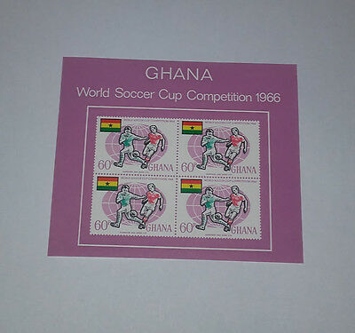 Ghana World Soccer Cup Competition 1966 Minisheet 4 Stamps 60P Imperforated