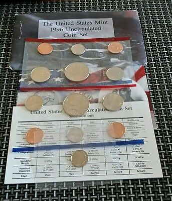 1996 united states mint uncirculated coin set (13 coins) with coa