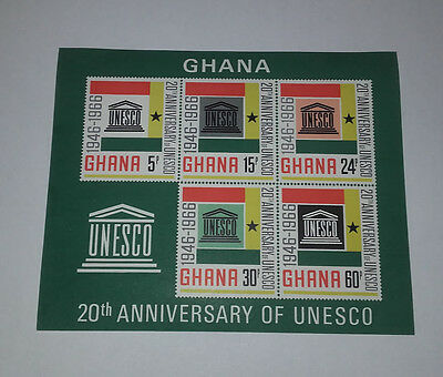 Ghana 20Th Anniversary Of Unesco 1966 Minisheet 5 Stamps Imperforated