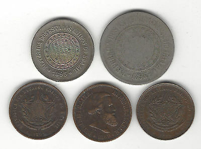 15. Nice Lot Of 5 World Coins From Brazil Pre- 1900 / 20, 100 & 200 Reis