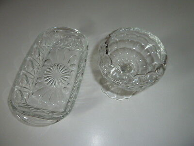2 Pieces Of Vintage Pressed Glass Reims Butter Dish&stemmed Dish
