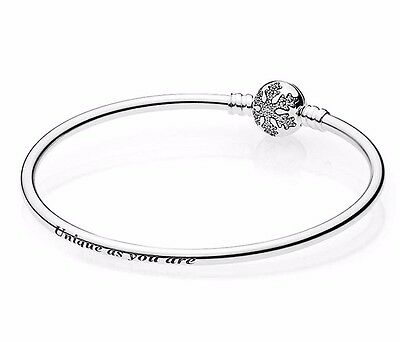 "PANDORA Sterling Silver Snowflake Bangle Christmas 2016 ""Unique As You Are"""