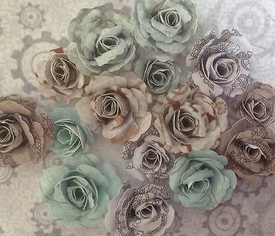 Gorgeous Steam Punk/ Bohemian / Gothic Handmade Paper Roses , Embellishments