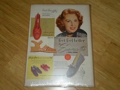 Vintage Magazine Ad - 1953 - Summerettes Shoes featuring Rhonda Fleming