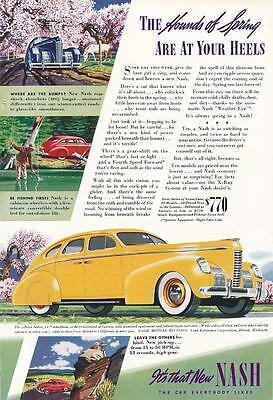 Vintage Magazine Ad - 1939 - Nash - yellow - hounds of spring