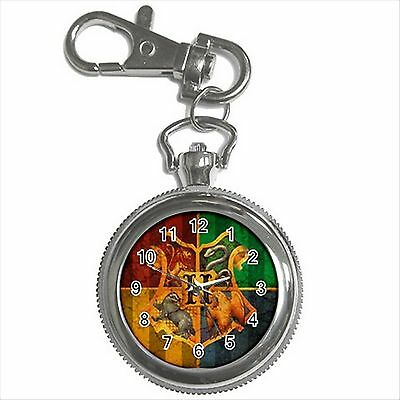NEW* HOT HARRY POTTER HOGWARTS SCHOOL Silver Tone Key Chain Ring Watch Gift