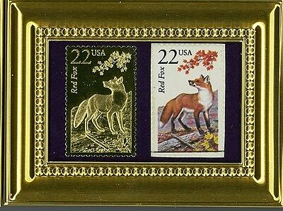 The Brilliant Red Fox A Pcs Framed 22K Gold Reflection & Fdc Postmarked Original