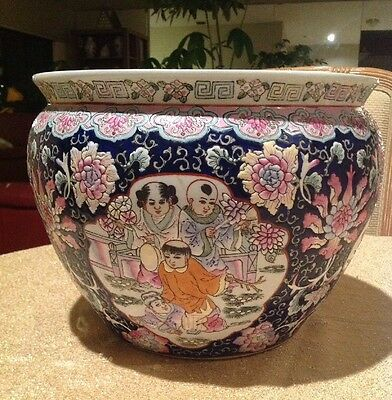 "Dark Blue Chinese Porcelain Fishbowl Pot Oriental Theme Floral 12-1/2"" Wide Vtg"