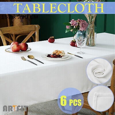 6 X Polyester Tablecloth 152x259cm Party Wedding Table Cloth Rectangle White