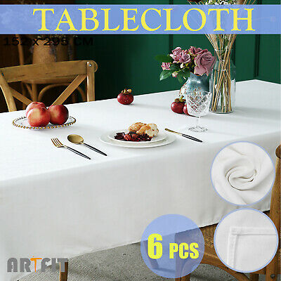 6 X Wedding Tableclothes 152x259cm Party Table Cloth Polyester Rectangle White