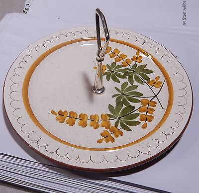 """Vintage Stangl Pottery Golden Blossom Round Serving Plate with Handle 10"""""""