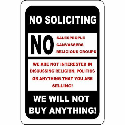 "No Soliciting Aluminum Metal Sign 8"" x 12"" - Indoor/Outdoor Use - Will Not Rust"