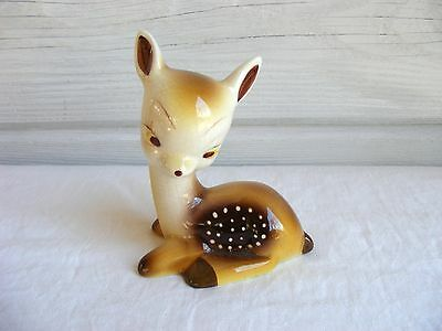 Vintage Pottery Spotted Fawn Baby Deer Figurine Hand Painted Mexico