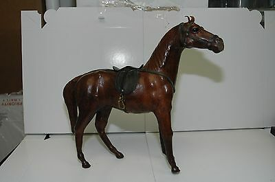 Vintage Leather Wrapped Horse Figure Sculpture Statue
