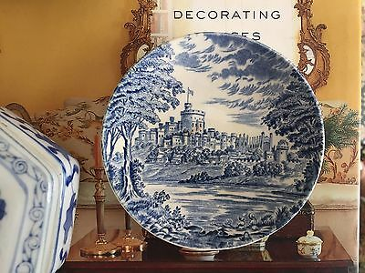 Wedgwood Antique Blue White English Porcelain Royal Homes Britain Plate Dish