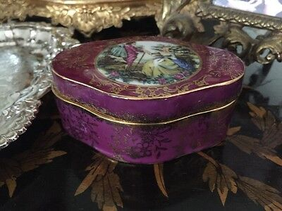 Vintage French Antique Limoges Style Pink Purple Gold Porcelain China Box