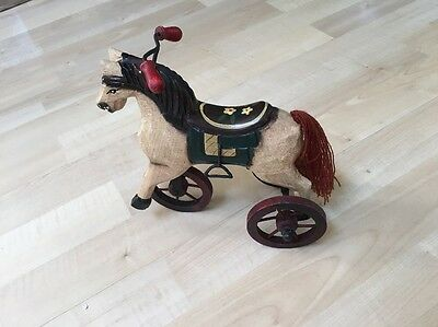 Vintage Wooden Horse on Three Wheels Tricycle Hand Carved & Painted