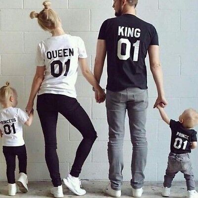 King 01 Queen 01 Princess Prince Love Matching Family Shirts Couple Tee Fashion