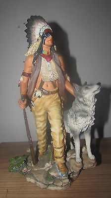 Large Ndian Warrior Figure With Wolf Native American Sculpture Statue Chief