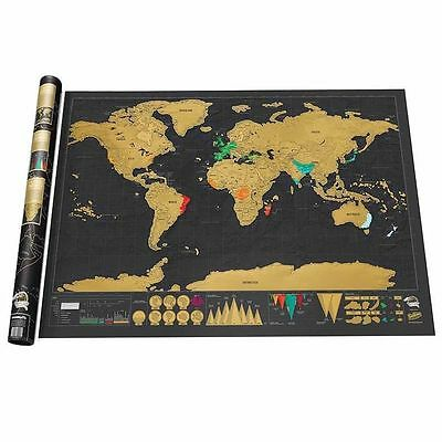 Deluxe Travel Edition Scratch Off World Map Poster Personalized Log Gift 3918