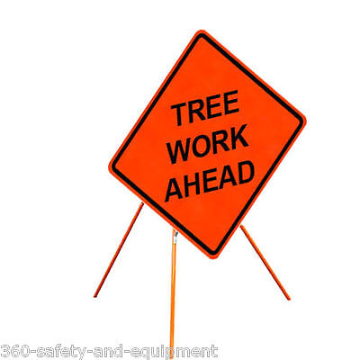 """Tree Work Ahead 48"""" X 48"""" Vinyl Fluorescent Roll Up Sign And Tripod Stand"""