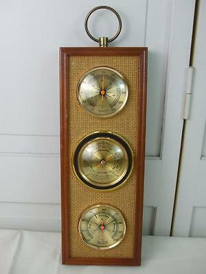 Vintage Jason Empire Weather Station Barometer Thermometer Humidity Burlap Wood