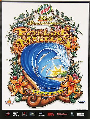 Mint 30th Annual Pipeline Masters Hawaii Surfing Contest Drew Brophy Art Poster