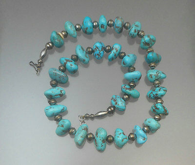 Vtg Native American Inspired Turquoise Silver Bead Necklace Southwest Style