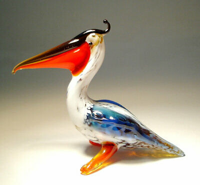 Blown Glass Figurine Art Blue and Red Bird PELICAN
