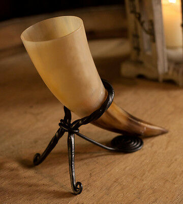 Designer Viking Drinking Horn & Iron stand for wine beer marriage anniversary