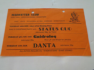 Status Quo Concert Flyer Madhatter Club  Maidstone Kent 28 December 1971