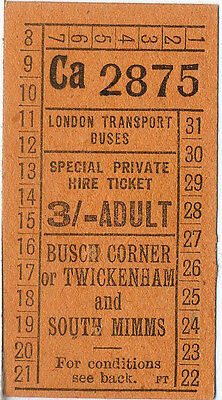 London bus ticket: LT Buses: Private Hire: 3/-