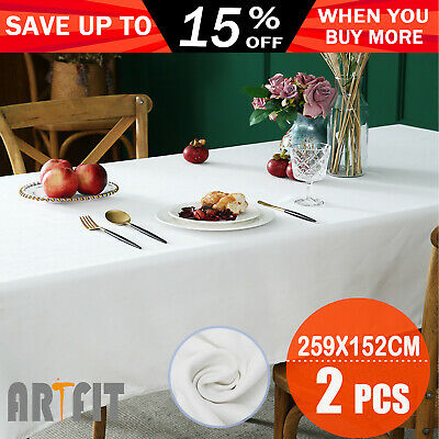 2 x Tablecloth Wedding Rectangle Party Event White 152x259cm Trestle Table Cloth