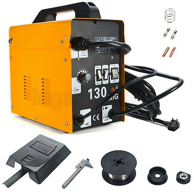 MIG-130 Flux Core Wire Welder Welding Machine Auto Feed w/ Cooling Fan Face Mask