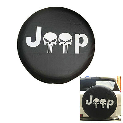For Jeep Liberty Cherokee Wrangler YJ TJ Skull Tire Cover with Punisher BLK 17''