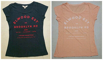 Elwood Ladies Short Sleeve Tee Blouse Casual Top Print T-Shirt Cotton Size XS-L